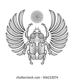 Hand drawn vector Egyptian  scarab beetle with wings, spirituality symbol of Sun. Zentangle monochrome illustration. Magic Egyptian sacred bug, mystery beetle, mythology ancient insect.