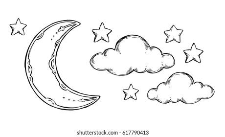 Star Moon Stok Vektorler Gorseller Ve Vektor Sanati Shutterstock