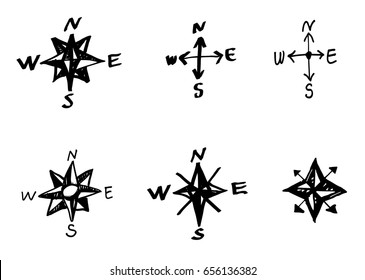 Hand drawn vector elements. Vintage wind rose symbols. Old fashioned nautical patterns.