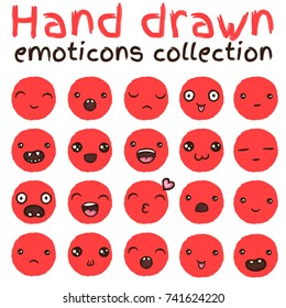 Hand drawn vector emoticons collection. Isolated red emoticons on white background.