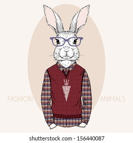Hand Drawn Vector Fashion Illustration of Bunny Hipster