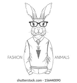 Hand Drawn Vector Fashion Illustration of Bunny Hipster Isolated on White
