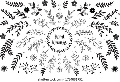 Hand drawn vector floral elements. Branches and leaves. Herbs and plants collection. Vintage botanical illustrations and floral wreaths.