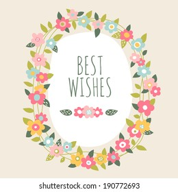 Hand drawn vector floral frame card with flowers leaves design elements