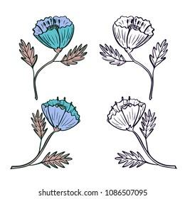 Hand drawn vector flowers set. Cute floral design.
