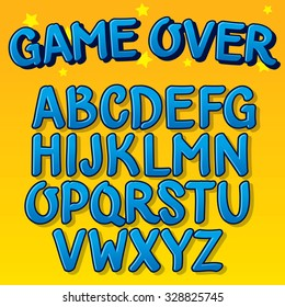 Hand drawn vector font for cartoons and game design. Children typography