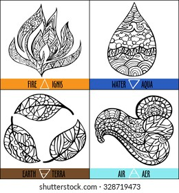 Hand drawn vector four elements of nature - Fire, air, earth, water in black and white colors with title on english and latin in ethnic pattern style