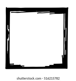 Hand drawn vector frame. Cartoon style vector doodle. Pencil effect isolated border.