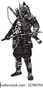 An hand drawn vector, freehand sketching. Portrait of an unknown Japan warrior, Samurai (Shogun). isolated on white