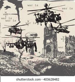 Eine handgezeichnete Vektorgrafik, Freibord und Skizze - Kriegslandschaft - KRIEG IST - Platard.