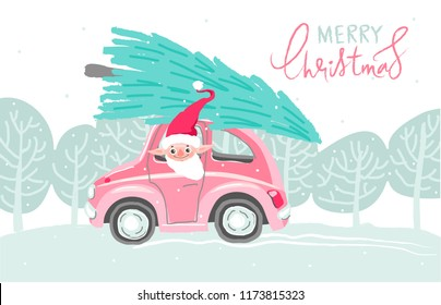 Hand drawn vector fun Merry Christmas time cartoon illustration set with gnome in red clothing. Hand lettering inscription Merry Christmas. The elf is lucky a fir-tree on the sledge. Pink car.