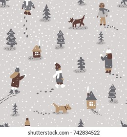Hand drawn vector fun winter time illustration. Seamless pattern with people dogs, trees and houses