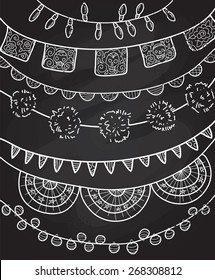 Hand Drawn Vector Garlands and Bunting Flags