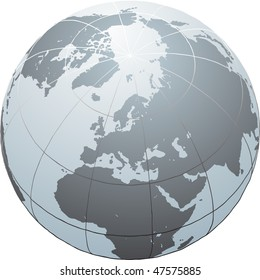Hand drawn vector globe with Africa, Europe, Asia and North America