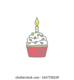 Hand drawn vector graphic illustrations of cup cake for birthday.