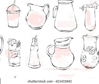 Hand drawn vector graphic Kitchen glassware utensils pitcher,bottle glasses bowel drinking accessories seamless pattern brush drawing isolated on white background
