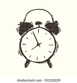 Hand drawn vector grunge illustration of the alarm clock