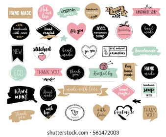Hand drawn vector - handmade, craft, knitting and art labels, tags with lettering