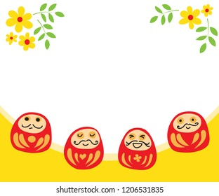 hand drawn vector happy four daruma with yellow flower on white