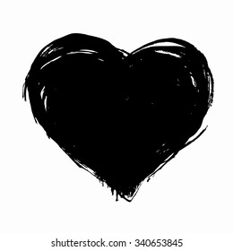 Hand drawn vector heart with rough edge. Dry brush ink illustration.