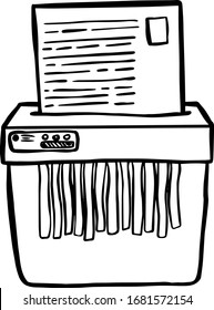 Hand drawn vector icon of outline shredder in cartoon style