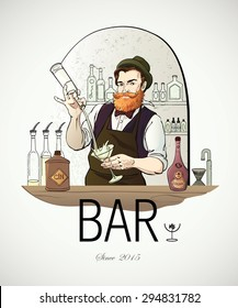 Hand drawn vector illustrated logo - Barman in work