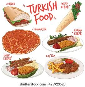 Hand drawn vector illustration of 6 traditional and popular Turkish Food varieties; including Half Bread Doner Kebab, Wrap Kebab, Lahmacun, Adana Kebab, Shish Kebab and Kofta or Turkish Meatballs.