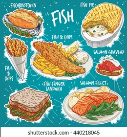 Hand drawn vector illustration of 7 popular types of Fish Food, including Fish Pie, Fish and Chips, Fish & Chips in cone, Salmon Gravlax, Fish Finger Sandwich, Salmon Fillet and German Fish Sandwich.