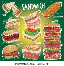 Hand drawn vector illustration of 8 popular All American Sandwich varieties; Club, Clubhouse, Egg, BLT, Bacon, Turkey, Reuben, Philly Cheese Steak, Philadelphia Cheese Steak, Dagwood Sandwich.