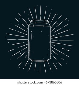 Hand drawn vector illustration with Aluminum cans on blackboard. Used for poster, banner, t-shirt print, bag print, badges and logo design