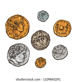 Hand drawn vector illustration ancient Rome gold and silver coins