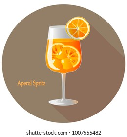 Hand drawn vector illustration of Aperol Spritz alcohol cocktail with a citrus orange slice decoration, in a brown circle with long shadow and text. Bar menu