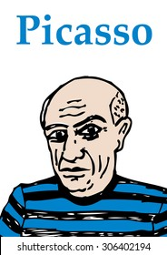 A hand drawn, vector illustration of the artist Pablo Picasso.