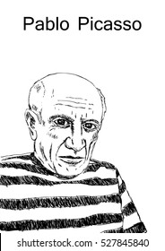 A hand drawn vector illustration of the artist Pablo Picasso.