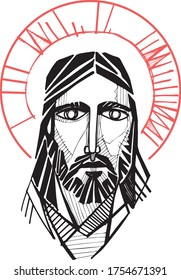 Hand drawn vector illustration or artistic drawing of Jesus Christ Face