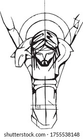 Hand drawn vector illustration or artistic drawing of Jesus Christ Good Shepherd at the Crucifixion