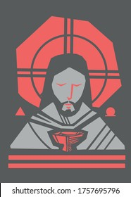 Hand drawn vector illustration or artistic drawing of Jesus Christ  Face and Eucharist symbol