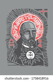 Hand drawn vector illustration or artistic drawing of the Jesuit Saint Ignatius of Loyola with phrase in spanish that means: Give me your love and grace, that is enough