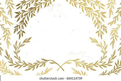 Hand drawn vector illustration - Background with vintage branches and inky splashes. Gold botanical leaves. Perfect for wedding invitations, greeting cards, brochures, vouchers, certificates, flyers