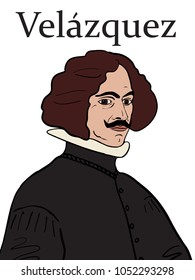 A hand drawn vector illustration of the Baroque Spanish artist Diego Velazquez.