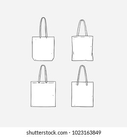Canvas bag images stock photos vectors shutterstock hand drawn vector illustration of blank white tote bag on white background template fabric bag maxwellsz