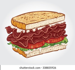Hand drawn vector illustration of a BLT Sandwich, Bacon Sandwich with Lettuce and Tomato.