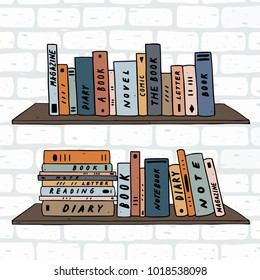 Hand drawn vector illustration of book on shelves. bookshelves on white brick wall.