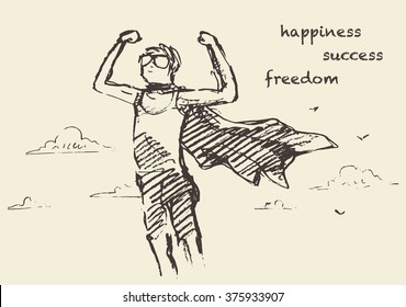 Hand drawn vector illustration of a boy with a waving cloak, outdoors. Freedom, happiness, creativity concept