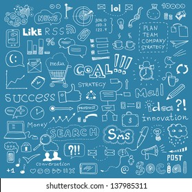 Hand drawn vector illustration of brainstorming doodles elements on business communication and social media theme. Isolated on blue background