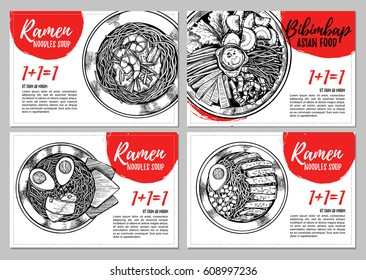 Hand drawn vector illustration. Brochures with illustrations of Asian food. Ramen and bibimbap. Ready-to-use design templates