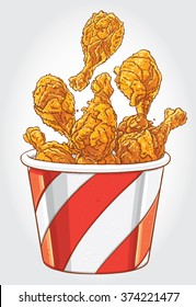Hand drawn vector illustration of a Bucket of Fried Chicken Drumsticks.