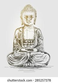 Hand drawn vector illustration of Buddha