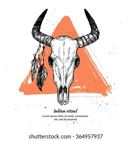 Hand drawn vector illustration - bull skull with feathers.