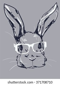 Hand Drawn Vector Illustration of Bunny Hipster.